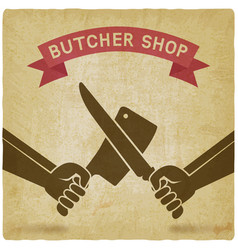 crossed butcher knives old background vector image vector image