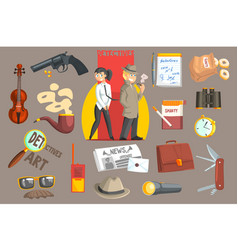 detectives and their equipment objects set vector image