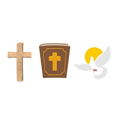 Holy Bible wooden cross and White Dove Christian vector image vector image