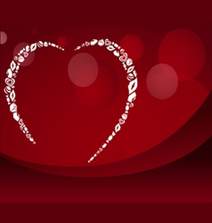 Red Valentine postcard with heart silhouette vector image vector image