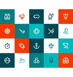 Scuba diving icons Flat style vector image vector image