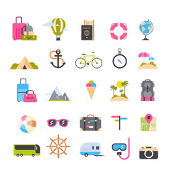 set of icons for travel and tourism active vector image