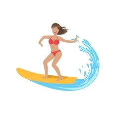 Woman In Red Bikini Riding A Wave On Surf vector image