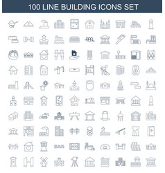 100 building icons vector