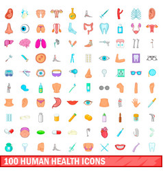 100 human health icons set cartoon style vector image