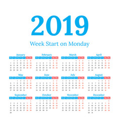 2019 calendar start on monday vector