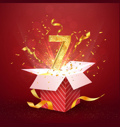 7 th year number anniversary and open gift box vector