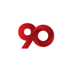 90 years anniversary celebration red template vector