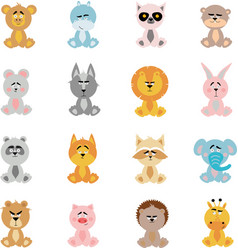 A large set of funny stuffed animals in cartoon vector