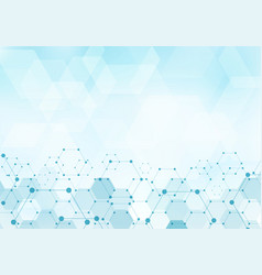 Abstract hexagons pattern molecule on blue vector