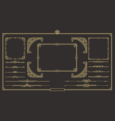 Art deco border and frame set vector
