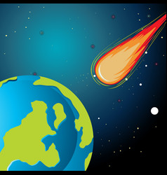 Asteroid falling to earth vector
