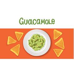 avocado guacamole recipe ingredients vegetable vector image