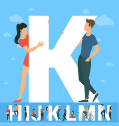 Big k letter white letter with young people vector