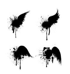 black grunge wings set vector image