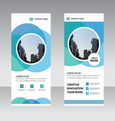 Blue circle Business Roll Up Banner template set vector image