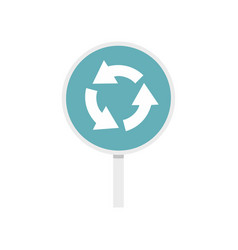 Blue round road sign with arrows icon flat style vector