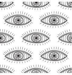 Boho style eyes seamless pattern vector
