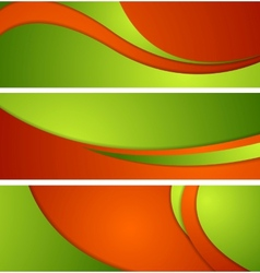 Bright corporate waves banners vector