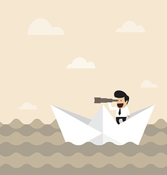 Businessman on paper boat searching for opportunit vector
