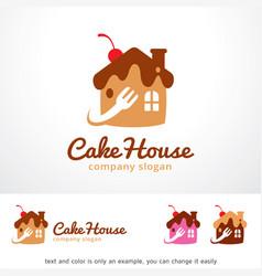 Cake house logo template design vector