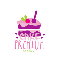 Cake premium logo design label for confectionery vector