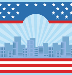 cityscape with united stated flag vector image