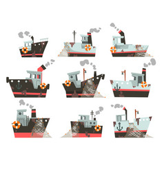 Collection of fishing boats trawlers for vector
