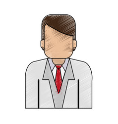 Color pencil half body faceless man with executive vector