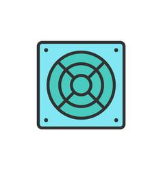 computer fan flat color line icon vector image