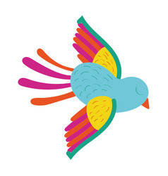 cute bird flying mexican decoration vector image