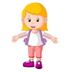 cute girl go to school cartoon vector image