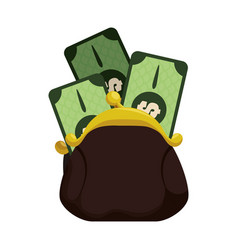Cute pruse with bills cash money vector
