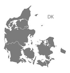 Denmark regions map grey vector