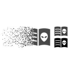 Dissolved pixel halftone alien face book icon vector