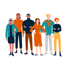 diverse group young people together portrait vector image