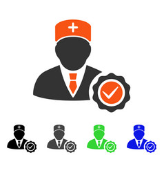 Doctor stamp seal flat icon vector