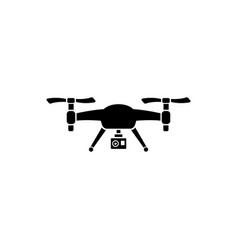 drone quadrocopter with action camera flat vector image