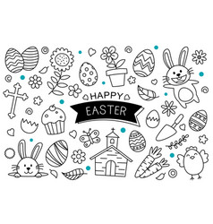 easter eggs doodle hand drawn on white background vector image