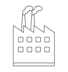 Factory building symbol isolated black and white vector