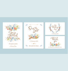 floral wedding invitations design templates vector image
