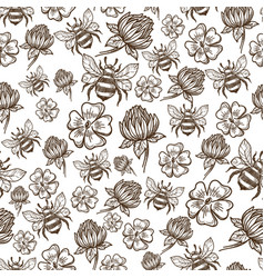 Flying bee and flowers in bloom seamless pattern vector