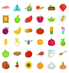 Foodstuff icons set cartoon style vector