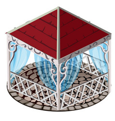 Forged gazebo with red roof blue lace curtains vector
