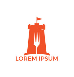 Fort and food sign combination logo concept vector