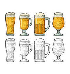 four different glasses for beer engraving vector image