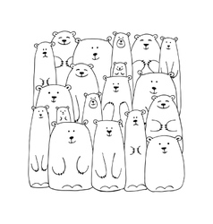 Funny white bears family sketch for your design vector