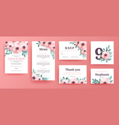 Gentle invitations for a wedding with pink flowers vector