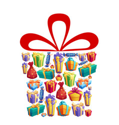 gifts and presents boxes with ribbons holiday vector image