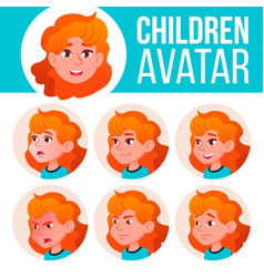 girl avatar set kid primary school red vector image